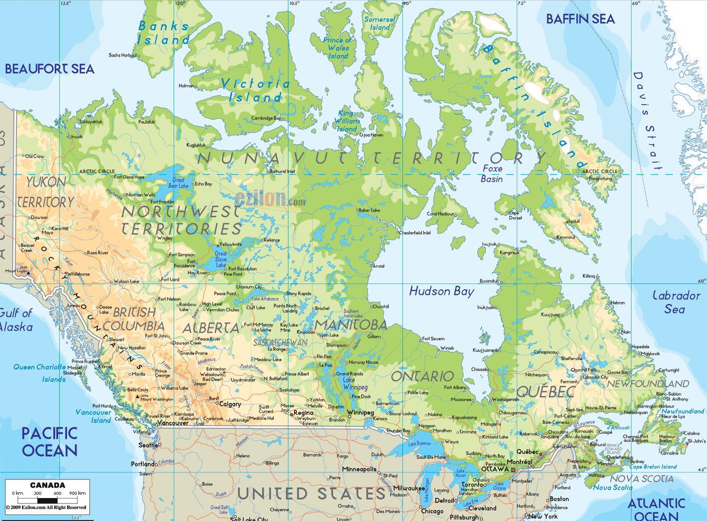 Harta Fizică A Canadei O Hartă Fizică Din Canada America De