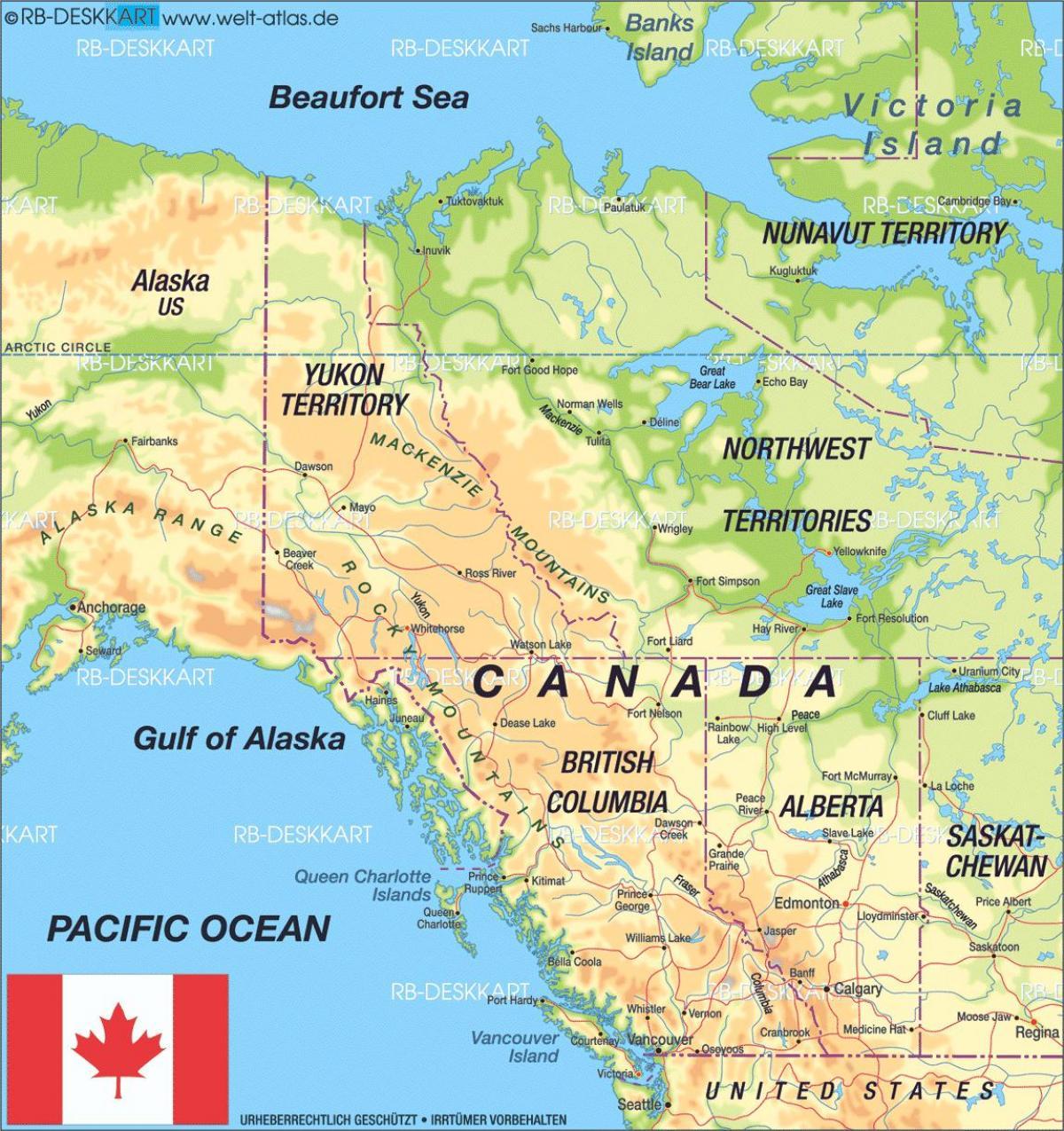 Harta De Europa De Vest Canada Detaliată Hartă De Vest Canada