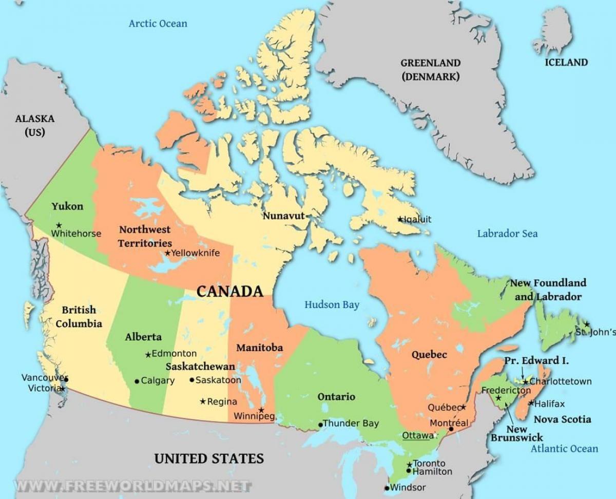 Harta Politică A Canadei O Harta Politică Din Canada America De